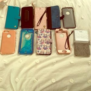 Assortment of iPhone 8 Plus cases and wallets